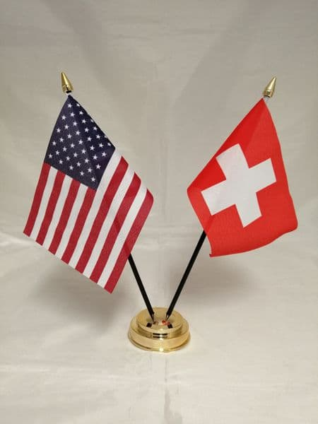 Switzerland with USA Friendship Table Flag