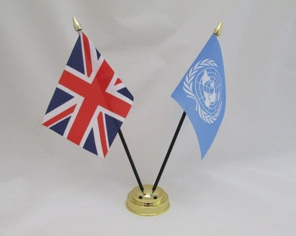 United Nations with UK Friendship Table Flag
