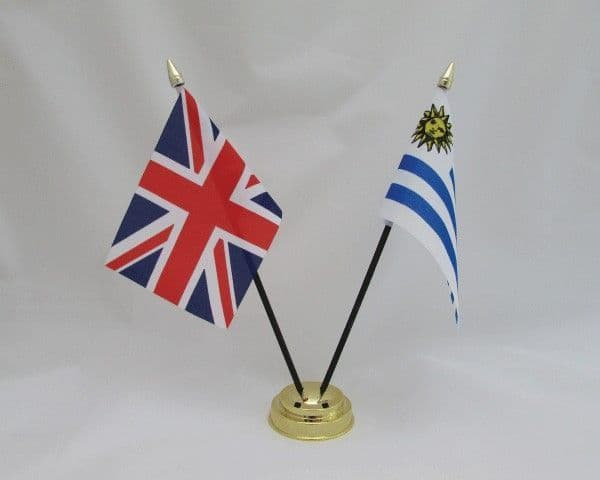 Uruguay with UK Friendship Table Flag