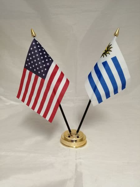 Uruguay with USA Friendship Table Flag