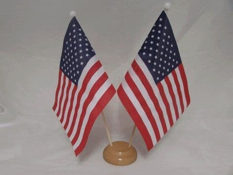 USA Double Wooden Table Flag