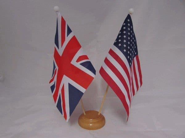 USA Friendship Wooden Table Flag
