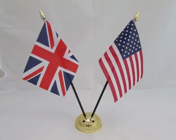 USA with UK Friendship Table Flag
