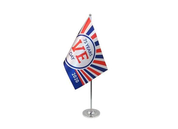 VE Day 75 Years (Design A) Satin Table Flag