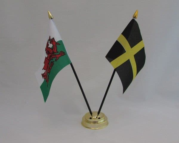 Wales & St David with UK Friendship Table Flag