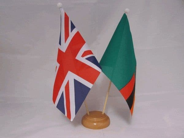 Zambia Friendship Wooden Table Flag