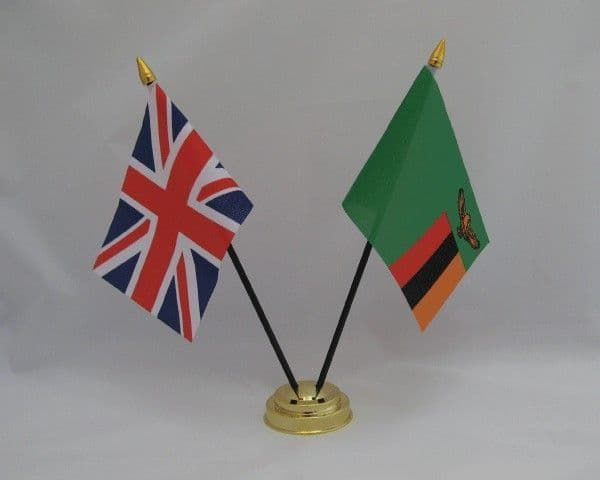 Zambia with UK Friendship Table Flag