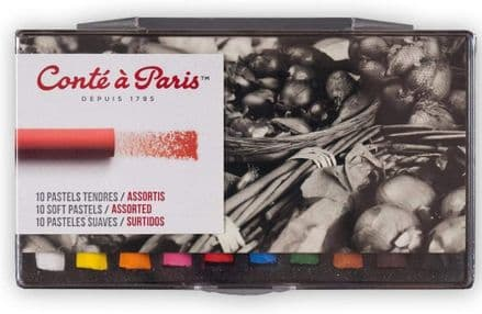 Conté à Paris Soft Pastels -soft pastel  Assorted Colours x 10 pegboardable, 50211