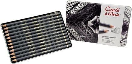 "Conte a Paris sketching pencils,the ""Drawing"" metal box 12 sketching pencils graphite, 9010463."