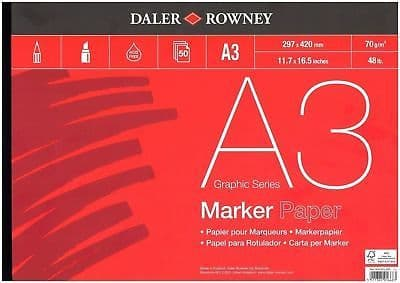 Daler Rowney A3 Graphics Series marker Paper Pad 50 Sheets 70gsm