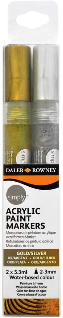 Daler Rowney Simply Acrylic Paint Markers - Metallic Gold And Silver  2 x 5.3ml Water based colour