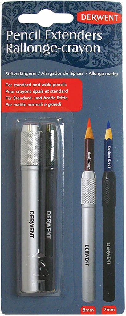 Derwent 2300124 Pencil Extenders, Screw Fitting and Soft Touch Coating, For Use with 7mm and 8mm Dia