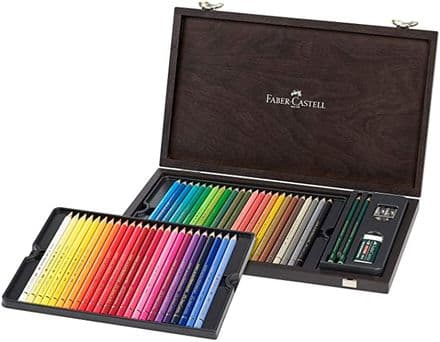 Faber-Castell 110006 Polychromos Colouring Pencils 48 Wooden Case with Accessories Waterproof