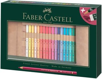Faber-Castell 110030 Polychromos Coloured Pencils Set of 30 with Leather Pencil Roll and Accessories