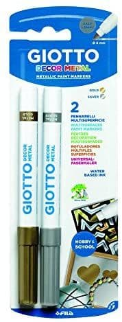 Giotto Decor Metallic Paint Multisurfaces Markers Gold & Silver 0.4mm Water Based Ink Pack of 2