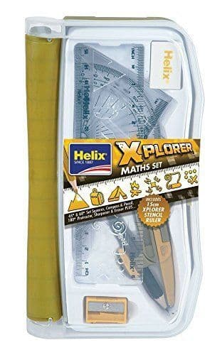 Helix 171512 XPLORER Maths set, Compass & Stencil - Ideal for School, Kids