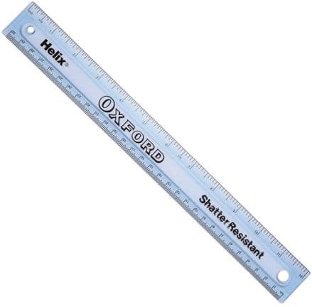 Helix L16060Helix Oxford 30cm/12 inch Shatter Resistant Blue Tinted Ruler