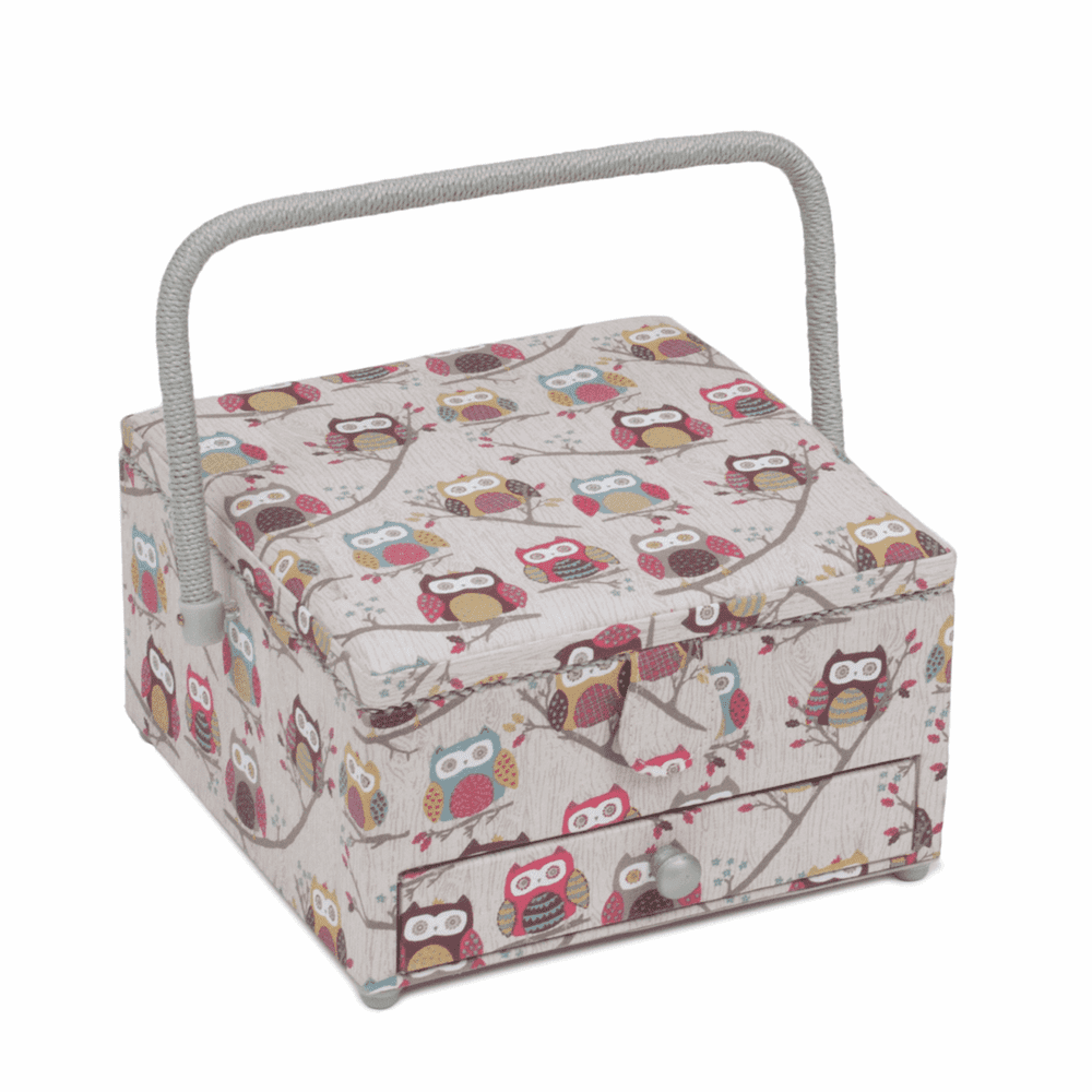 Hobby Gift Sewing Box (L),Square with Drawer: Hoot