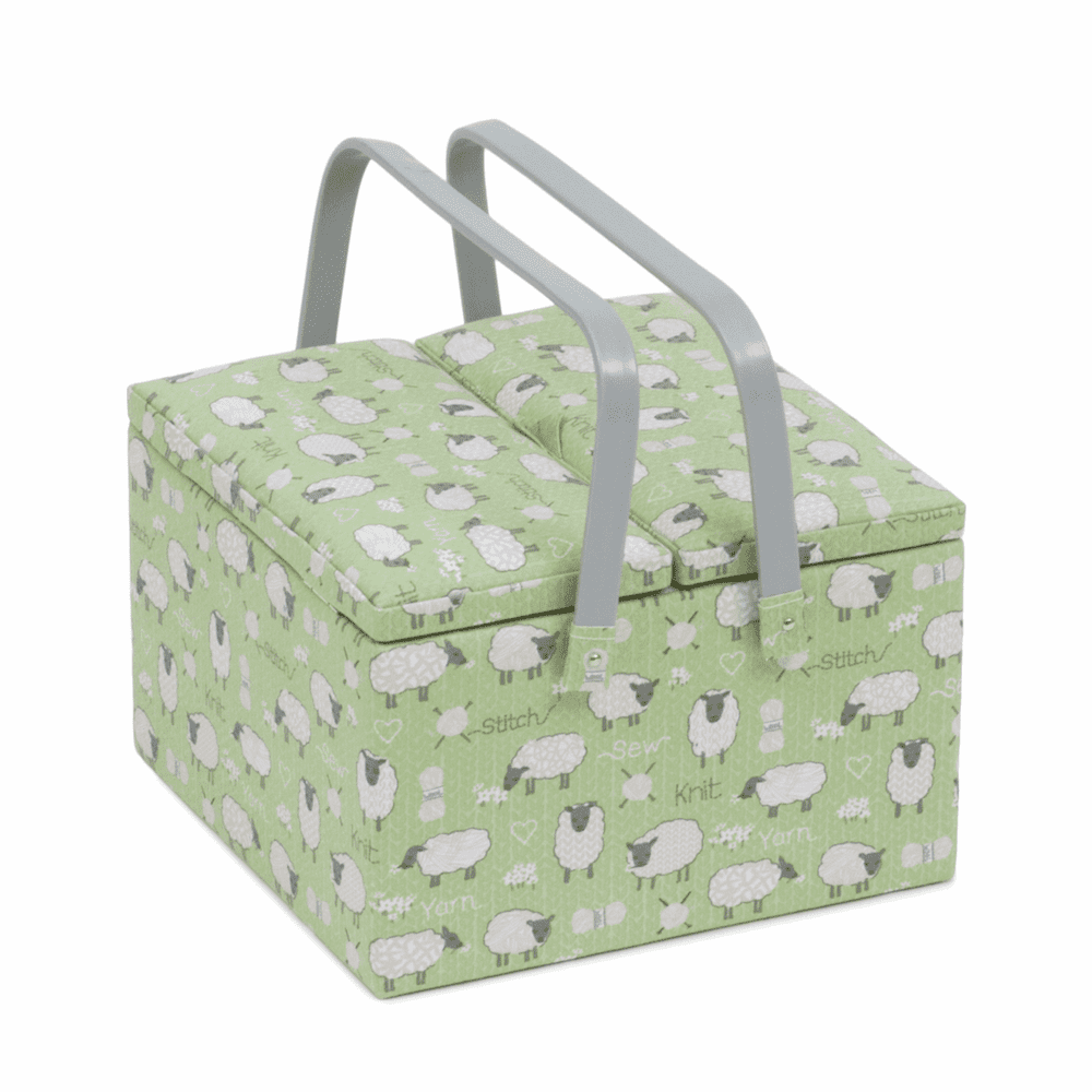 Hobby Gift Sewing Box (L),Twin Lid, Square: Sheep