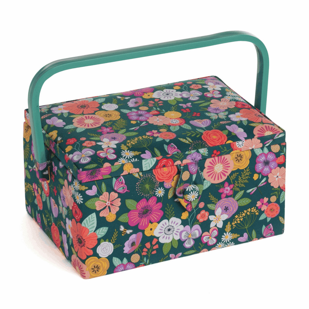 Hobby GiftSewing Box (M), Floral Garden: Teal