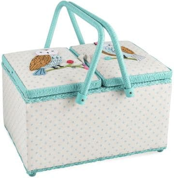 Hobbygift Classic Twin Lid Rectangular Sewing Box Appliqued Owls,HGTLR\551