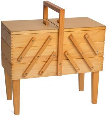 Hobbygift Wooden Cantilever 3 Tier Sewing Box with Legs: Light Wood Shade,GB8550