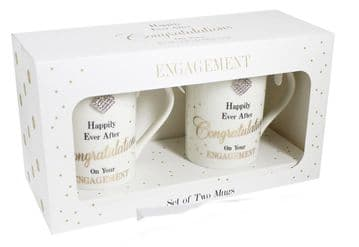 Lesser and Pavey Mad Dots Engagement Mugs Set of 2, Off/White, 11 x 7 x 10 cm by Lesser & Pavey