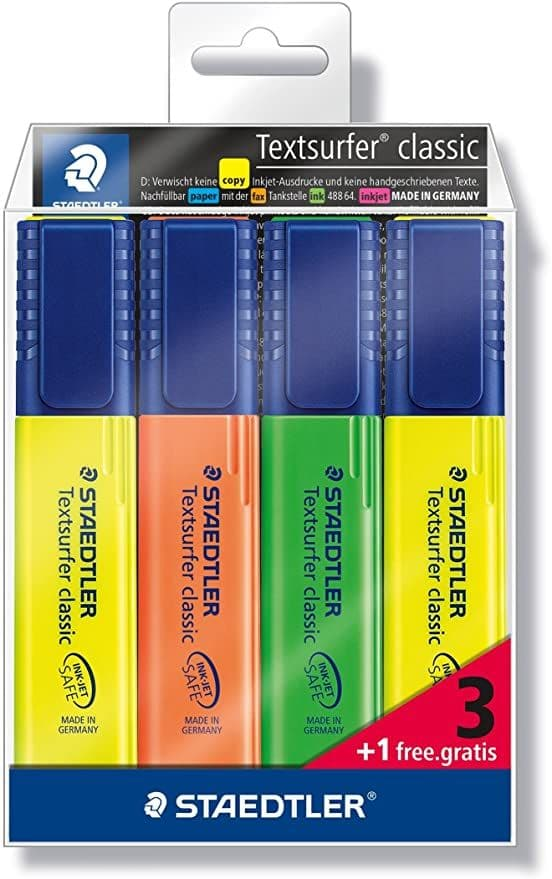 Staedtler 364-S WP4P Highlighter Textsurfer classic containing 3 + 1 free