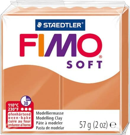 Staedtler Fimo Soft 8020-76 Oven Hardening Modelling Clay 57g - Cognac