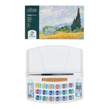 Van Gogh The National Gallery Water Colour Plastic Case Set with 18 Colours in Half Pans and 2 Colou