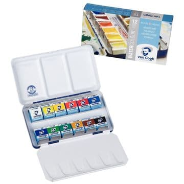 Van Gogh Water Colour Metal Case Set with 12 Colours in Half Pans 20838612