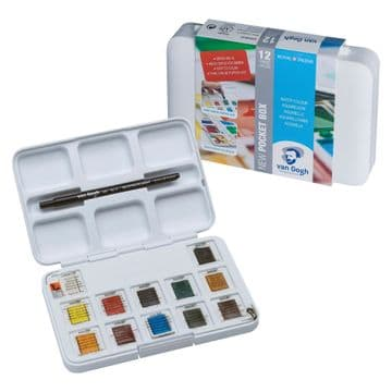Van Gogh Water Colour Pocket Box Basic Colours with 12 Colours in Half Pans 20808631
