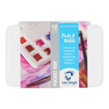 Van Gogh Water Colour Pocket Box Pinks & Violets with 12 Colours in Half Pans 20808642