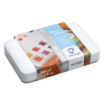 Van Gogh Water Colour Pocket Box Vibrant Colours with 12 Colours in Half Pans 20808643
