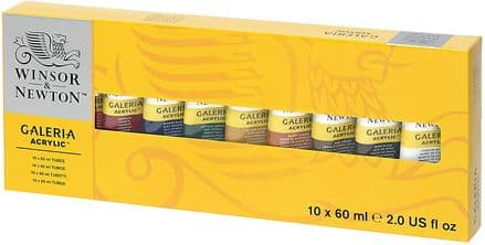 Winsor and Newton Galeria Acrylic color 10 x 60ml Tube Paint Set, Packaging may vary