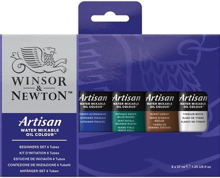 Winsor & Newton Artisan water mixable oil colour, Beginner's Paint Set 6 x 37ml, 1590251