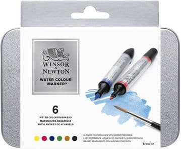 Winsor & Newton Water Colour Marker - Multi-Coloured, Pack of 6