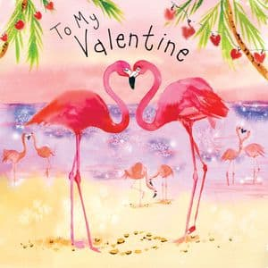 FIZ23 - Valentine's Day Card Flamingoes