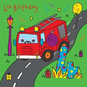 Fire Engine Birthday Card - age 4
