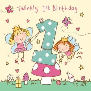 Age 1 Girls Twinkly Birthday Card