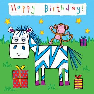 Childrens Birthday Card - Zebra