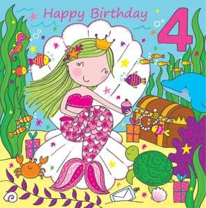 LIL4 - Age 4 Girls Birthday Card Mermaid