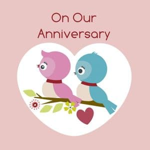 On Our Anniversary Card - Two Birds