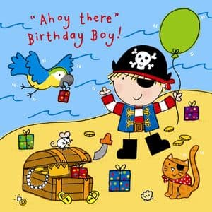 Pirate and Balloon Birthday Card