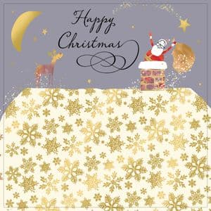 Santa Delivering Presents, Christmas Card with Gold Foiling, Contemporary Design and Red Envelope