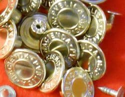 17MM NO SEW HAMMER ON DENIM / JEAN BUTTONS X 10- SILVER