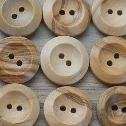 2-HOLE NATURAL WOODEN BUTTONS BUTTONS X 50 PACK - BULK BUY 25MM OR 29MM