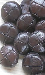 DARK BROWN FOOTBALL/ LEATHER EFFECT BUTTONS X 10- CHOOSE YOUR SIZE FROM 15- 25MM