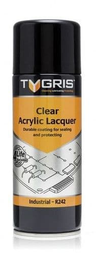 Tygris 400ml Clear Acrylic Lacquer Sealing & Protecting Lubricant Spray (R242)