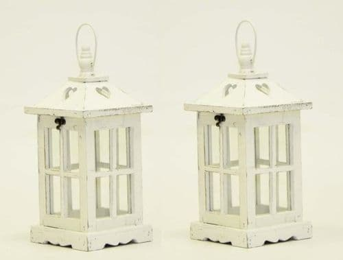 Square Lantern with Heart Design (Set Of 2)